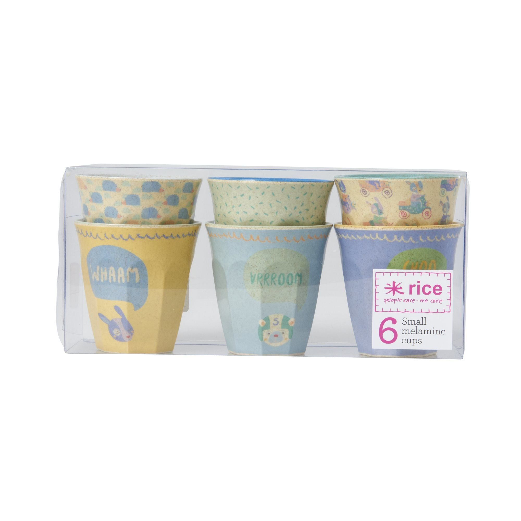 Rice DK | Set of 6 Small Bamboo Melamine Cups in  Assorted Boys Racing Prints