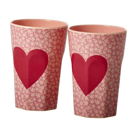 Rice DK | Set of 2 Latte Melamine Cups with Heart Print