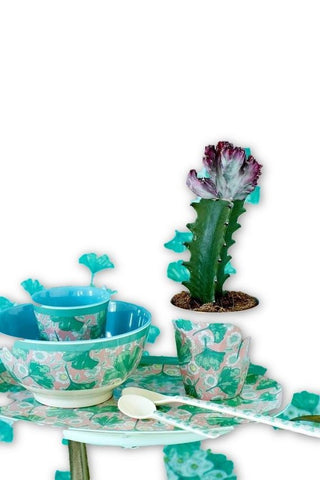 Rice DK | Two-Tone Melamine Bowl with Leaves & Flower Print