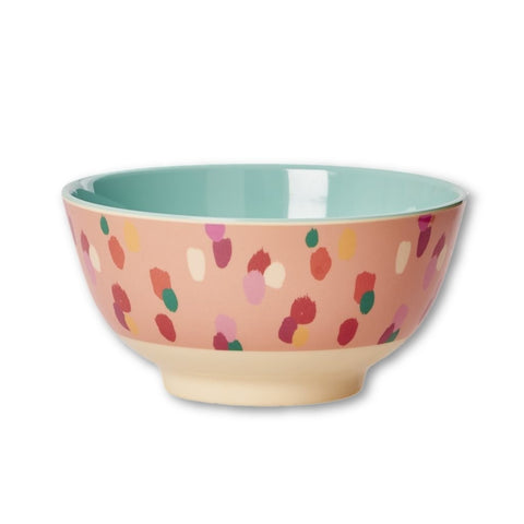 Rice DK | Two-Tone Melamine Bowl with Coral Dapper Dot Print