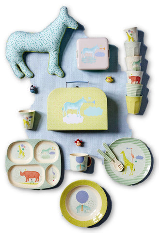 Rice Dk | Small Melamine Plate with Green Safari Print