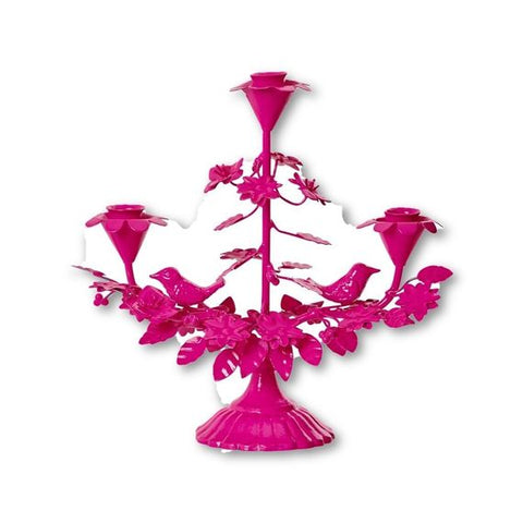 Rice Dk Pink Metal Candle Holder