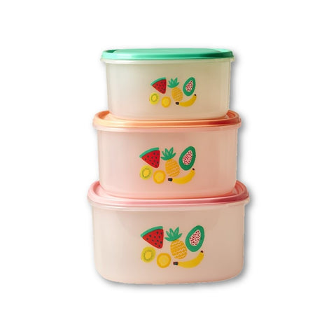 Rice Dk | Set of 3 Tutti Fruitti Print Stacking Food Boxes