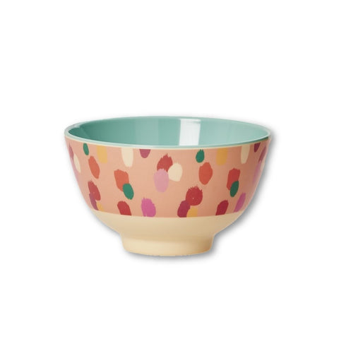 Rice DK | Small Two-Tone Melamine Bowl with Coral Dapper Dot Print
