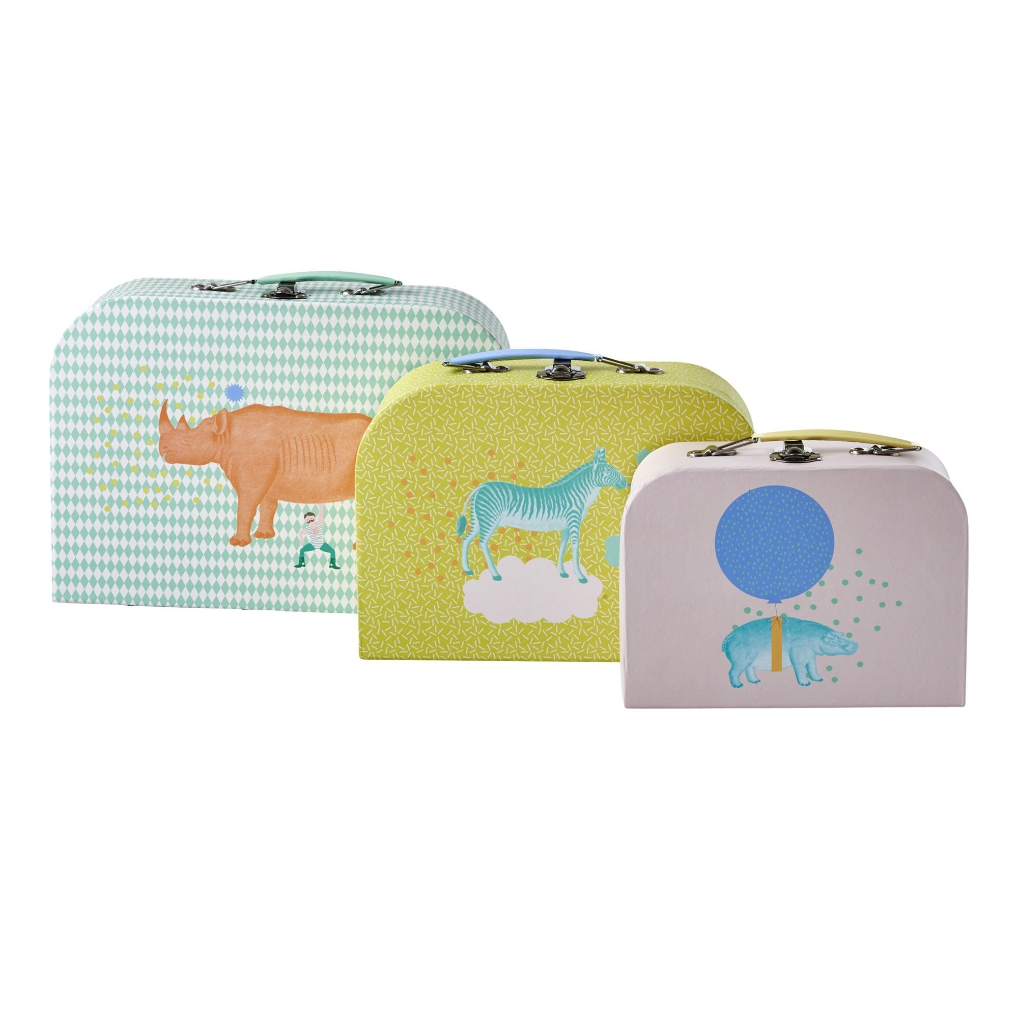 Rice DK | Cardboard Suitcase Set of 3 in Assorted Animal Prints
