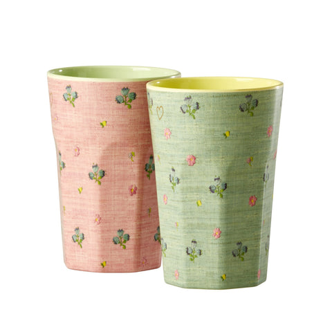 Rice DK | Set of 2 Latte Raffia Melamine Cups