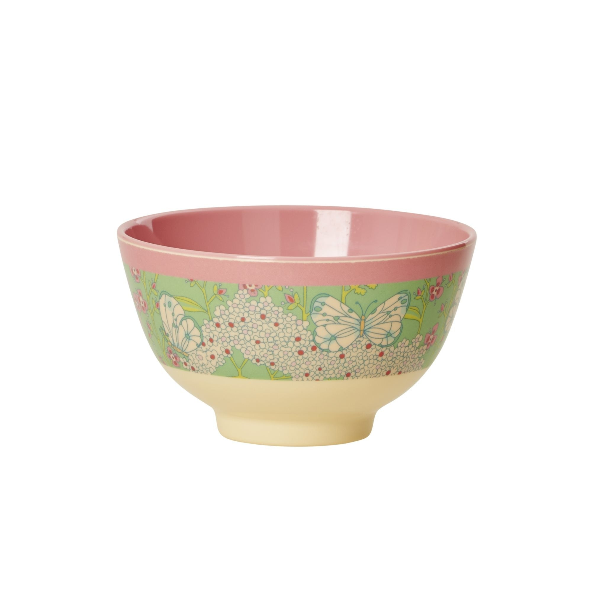 Rice DK | Small Two-Tone Melamine Bowl with Butterfly & Flower Print