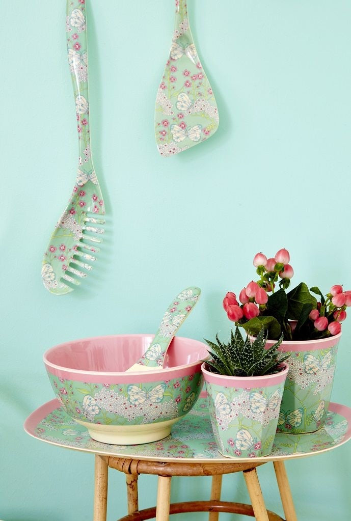 Rice Dk | Two Tone Melamine Cup Butterfly & Flower Print