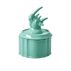Rice DK | Porcelain Jewelry Box with Pastel Green Rhino Head Lid