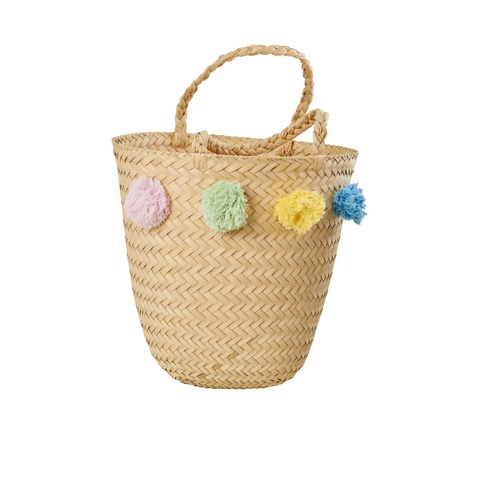 Rice Dk | Raffia Beach Bag with Pompoms in Assorted Colors