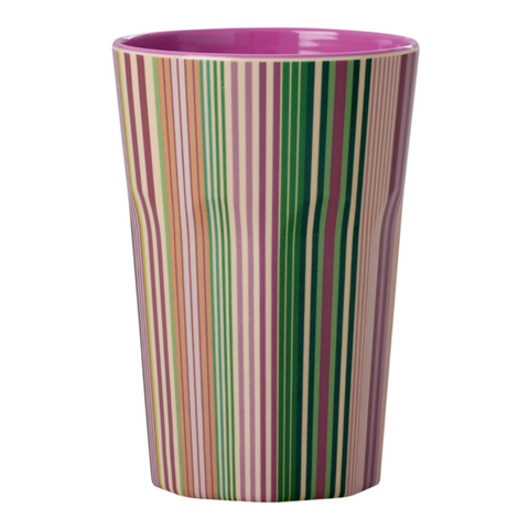Rice Dk | Tall Melamine Latte Cup with Stripes Print