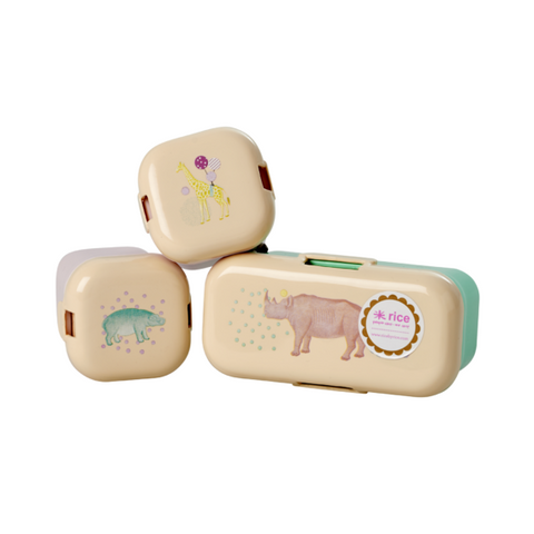 Rice Dk | Set Of 3 Mini Lunchbox with Animal Prints