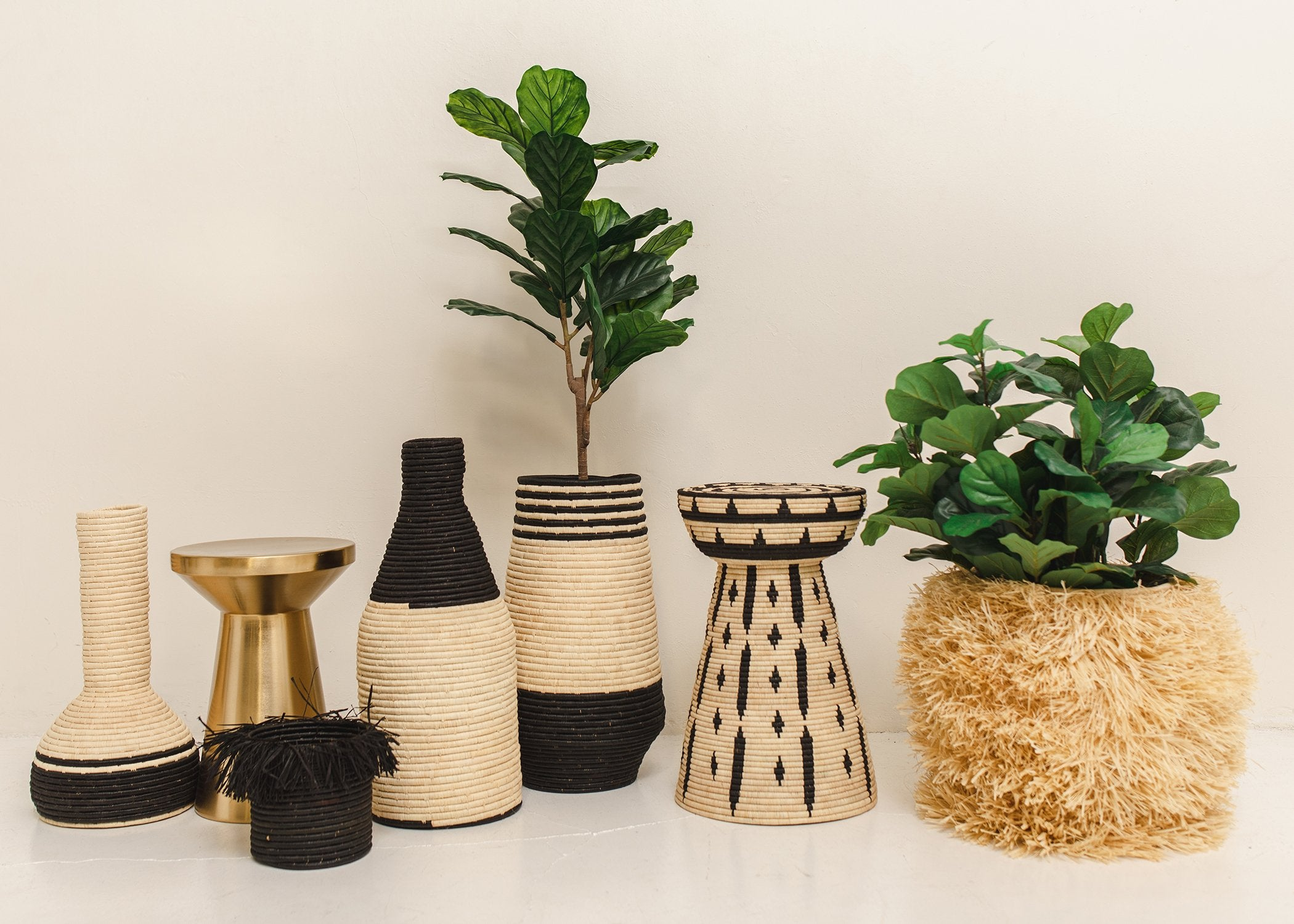 Handcrafted Adia Natural Side Table & Planter