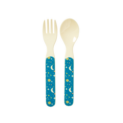 Rice DK | Kids Melamine Spoon and Fork with Blue Universe Print