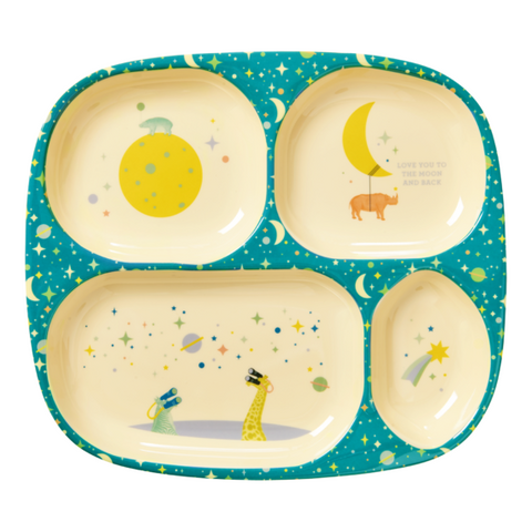 Rice DK | Kids 4 Room  Melamine Plate with Blue Universe Print