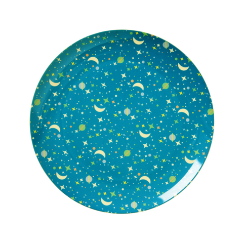 Rice DK | Kids Melamine Lunch Plate with Blue Universe Print