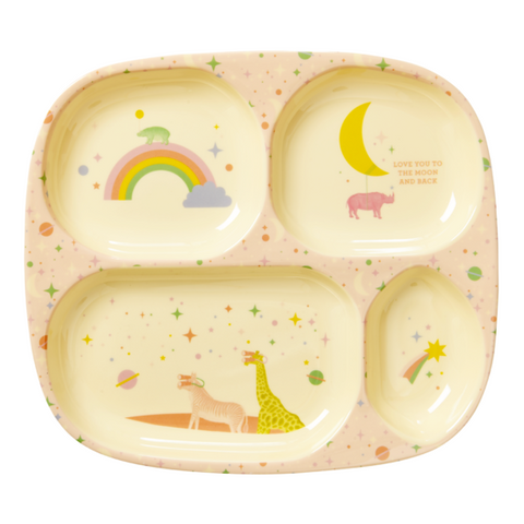 Rice DK | Kids 4 Room Melamine Plate with Pink Universe Print
