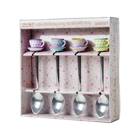 Rice DK | Set of 4 Teaspoons with Resin Tea Cup Decoration