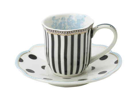 Lisbeth Dahl | Set of 2 Espresso Black and White Porcelain Cup & Saucer