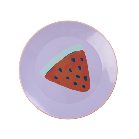 Rice DK | Lavender Enamel Lunch Plate with Watermelon Print