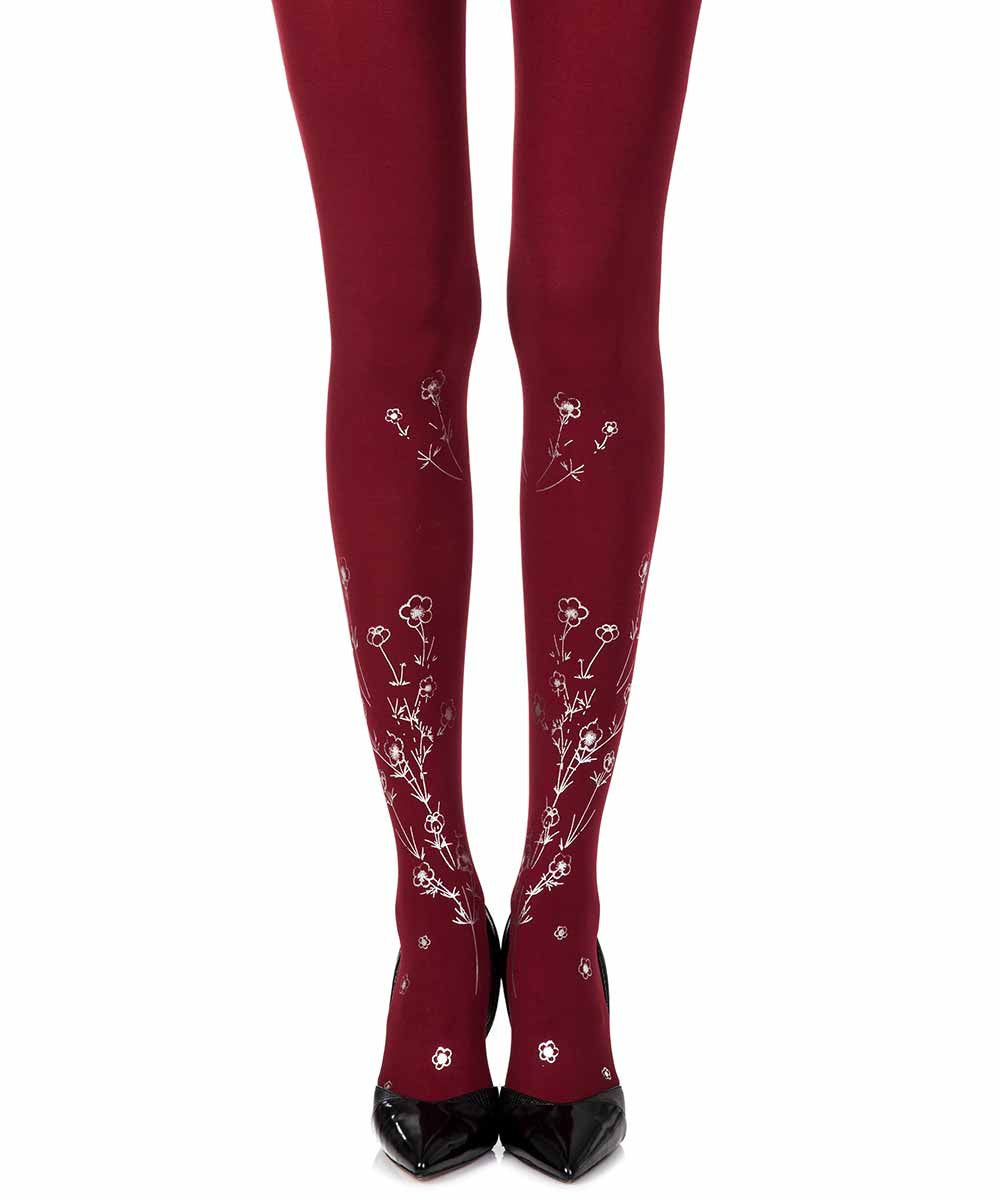 Zohara Wild Roses Opaque Burgandy Print Tights