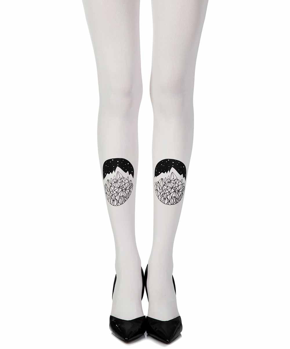Zohara Cream A Point Of View Print Tights