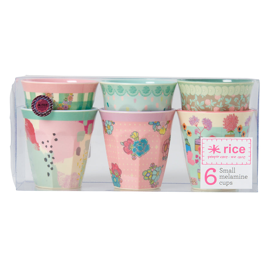 Rice DK | Set of 6 Small Melamine Cups Extraordinary Prints