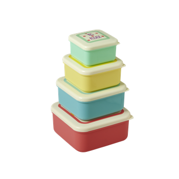 Rice Dk | Set Of 4 Small Foodboxes with Printed Lids in Assorted Colors