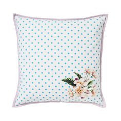Lisbeth Dahl | Flowers and Polka Dots Print Throw Pillow