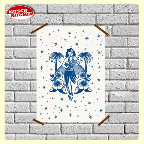 Kitsch Kitchen | Poster Tattoo Hula Girl