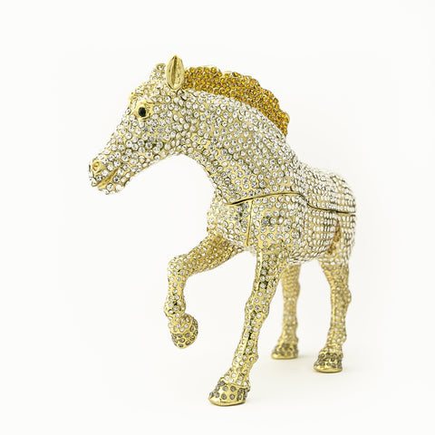 Large Golden Horse Decorated with White Crystals