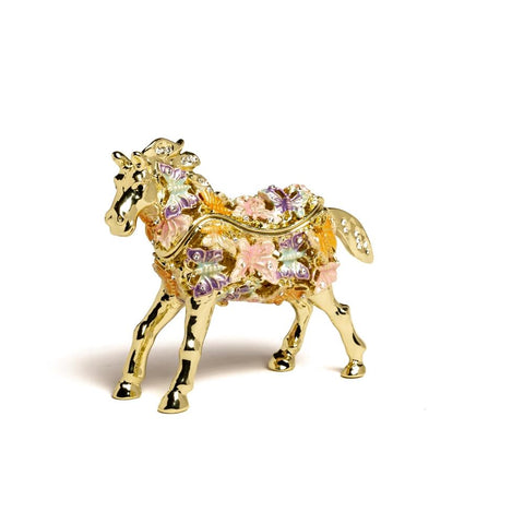 Handpainted Golden Horse Decorated with butterflies Trinket Box