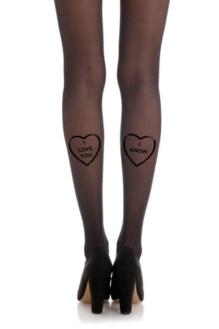 Zohara Black Tights I Know Print