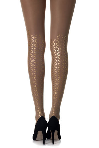 Zohara Opaque Tights Triangle Print