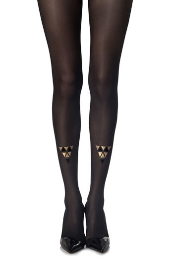 Zohara Black Sheer Tights Cleopatra Print