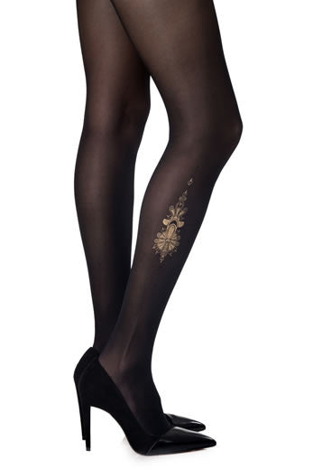 Zohara Black Sheer Tights Lily Print