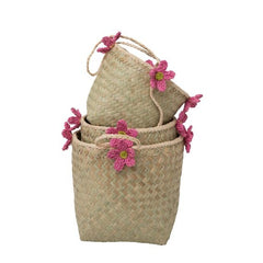 Rice DK Pink Flower Straw Baskets