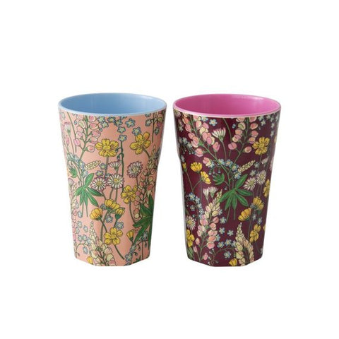 Rice DK | Set of 2 Latte Melamine Cups Floral Print