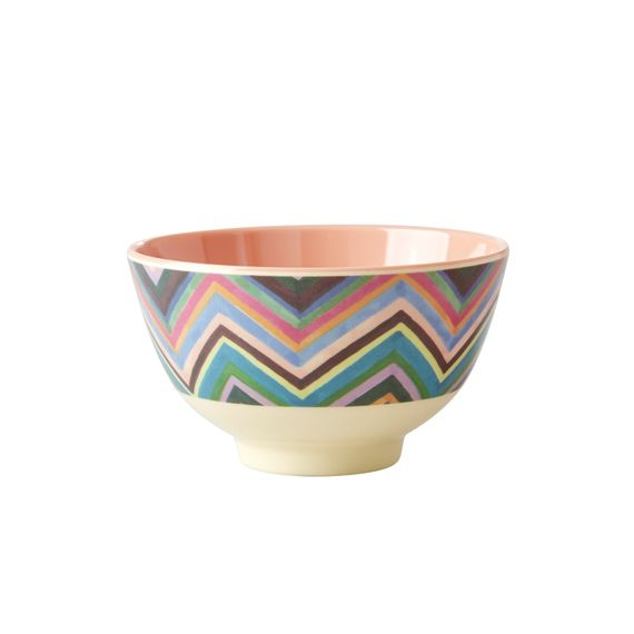 RICE Dk Zigzag Colored Print Two Tone Melamine Cup