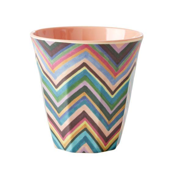 RICE Dk Zigzag Colored Print Two Tone Melamine Tall Cup