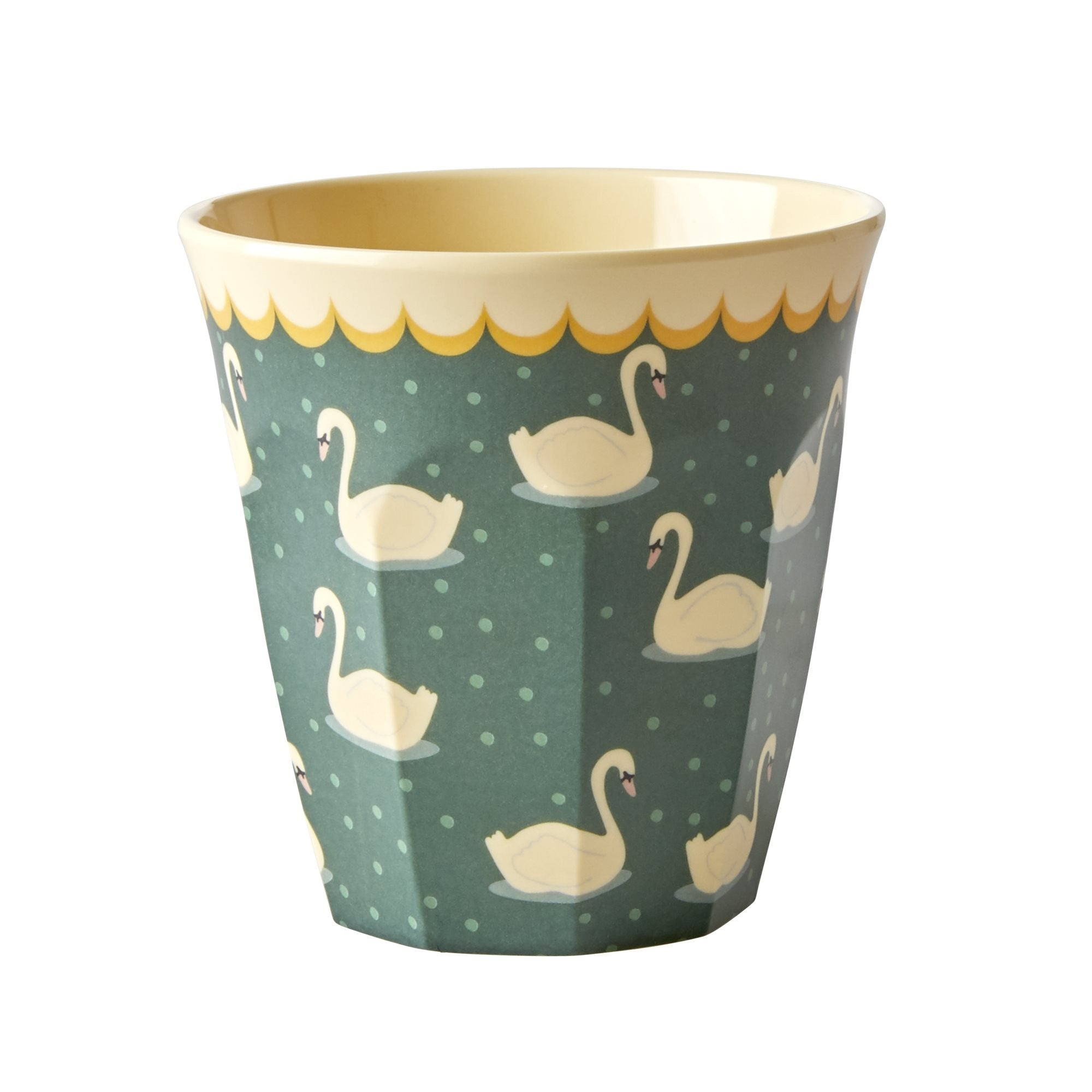 Rice DK Two-Tone Melamine Swans in a haki background Print Cup,bowl,and small bowl