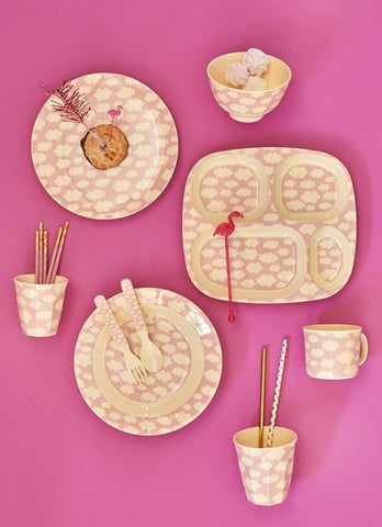Rice DK | Kids Melamine 4 Room Pink Plate with Cloud Print