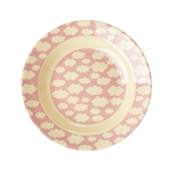 Rice DK | Kids Melamine Pink Bowl with Cloud Print