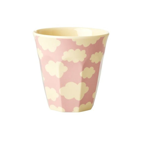 Rice DK | Kids Melamine Cup pink and white cloud print.