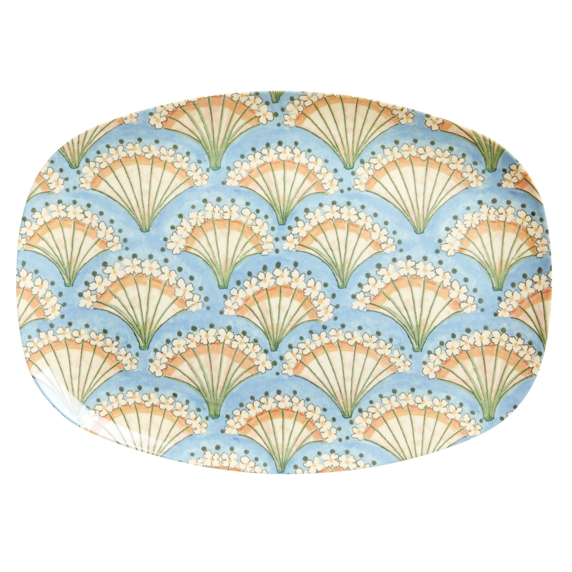 Rice DK Two-Tone Melamine Pink Flowery Fan with light blue Print Cup
