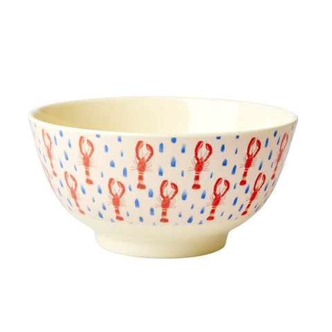 Rice DK Red Lobster Print Two Tone Melamine Medium Bowl