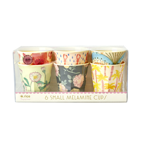 Rice DK Set of 6 Small Melamine Beach Designed Cups