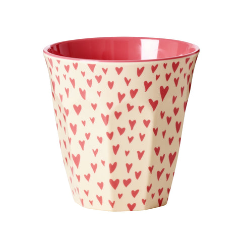 Rice DK Two-Tone Melamine With Red hearts Print Cup