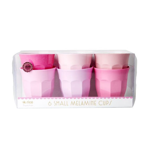 Rice DK Set of 6 Small Curve Pink Melamine Cups