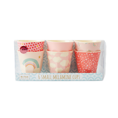 Rice DK Set of 6 Sweet Small Two Tone Rainbow Melamine Cups